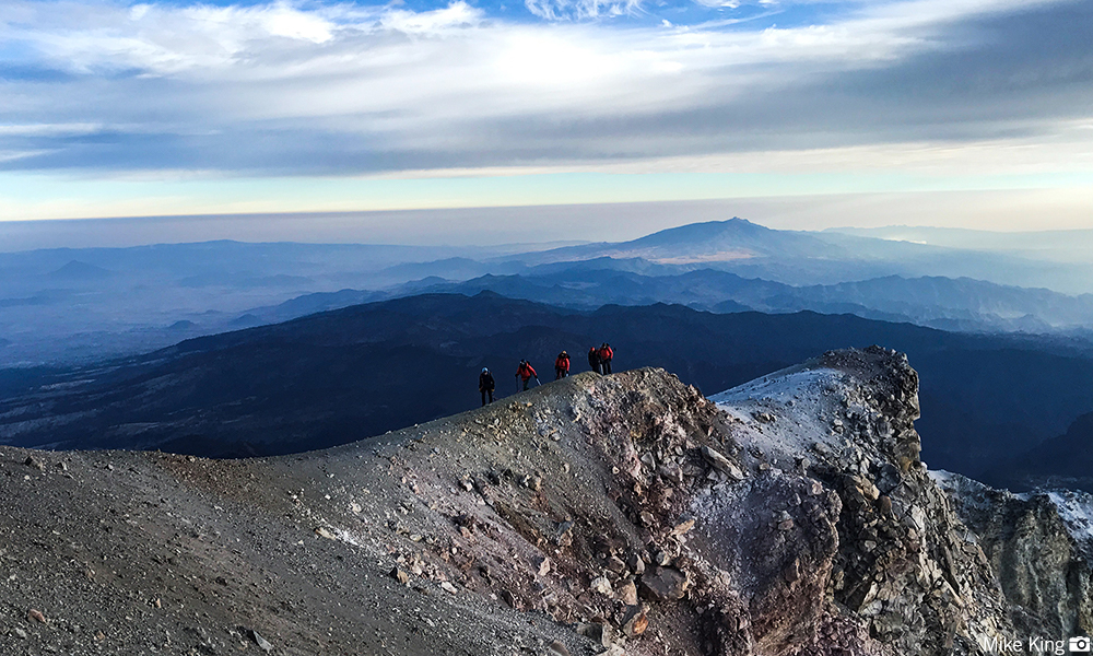 Team walks the summit ridge of Orizaba.   PC: Mike King
